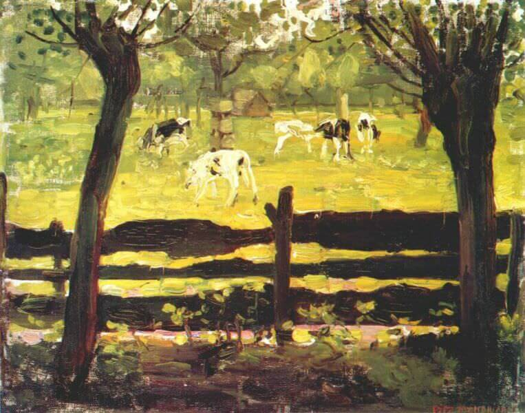 Calves in a field bordered by willow trees - by Piet Mondrian