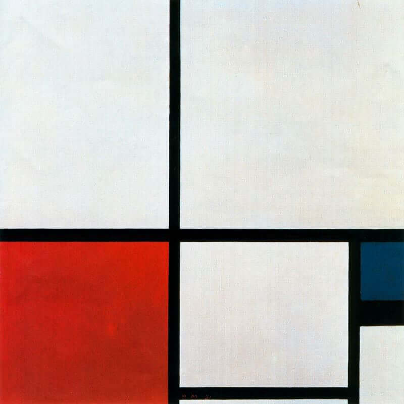 Composition n i with red and blue 1931 - by Piet Mondrian