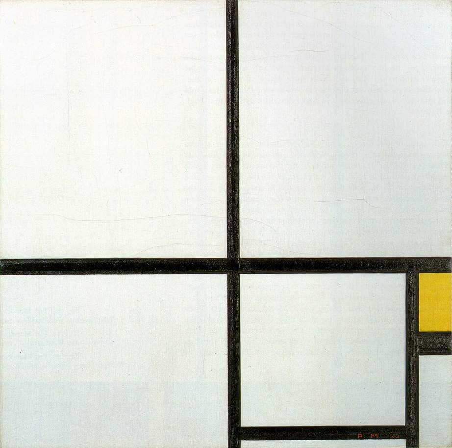 Composition with yellow patch 1930 - by Piet Mondrian