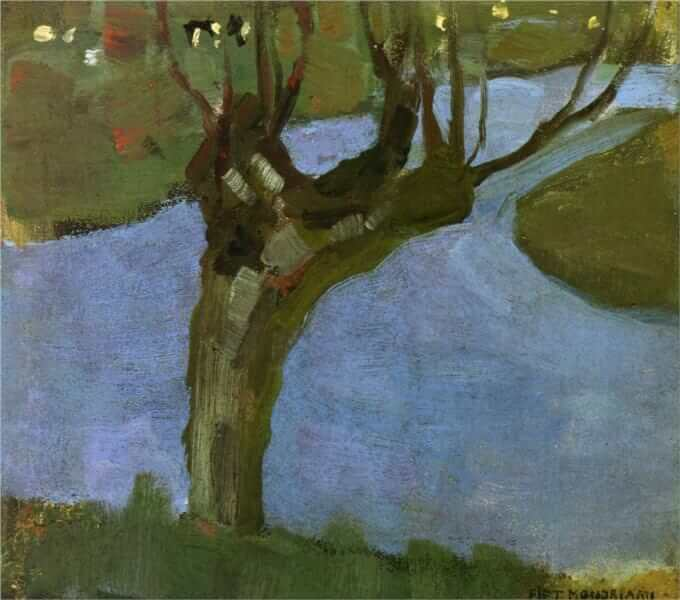 Irrigation ditch with mature willow - by Piet Mondrian
