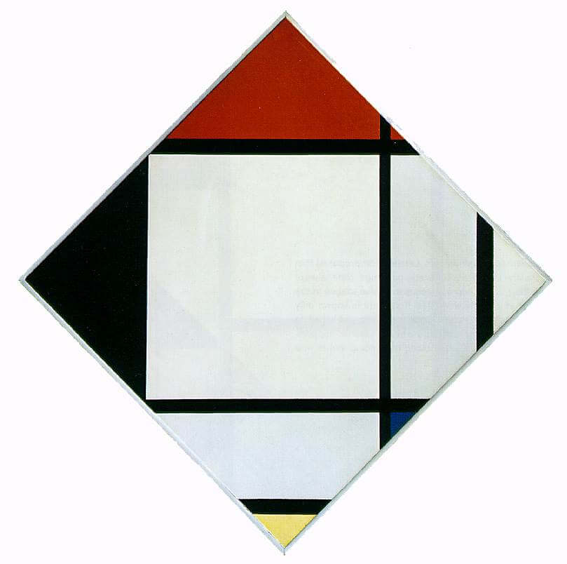 Lozenge composition with red black blue and yellow 1925 - by Piet Mondrian