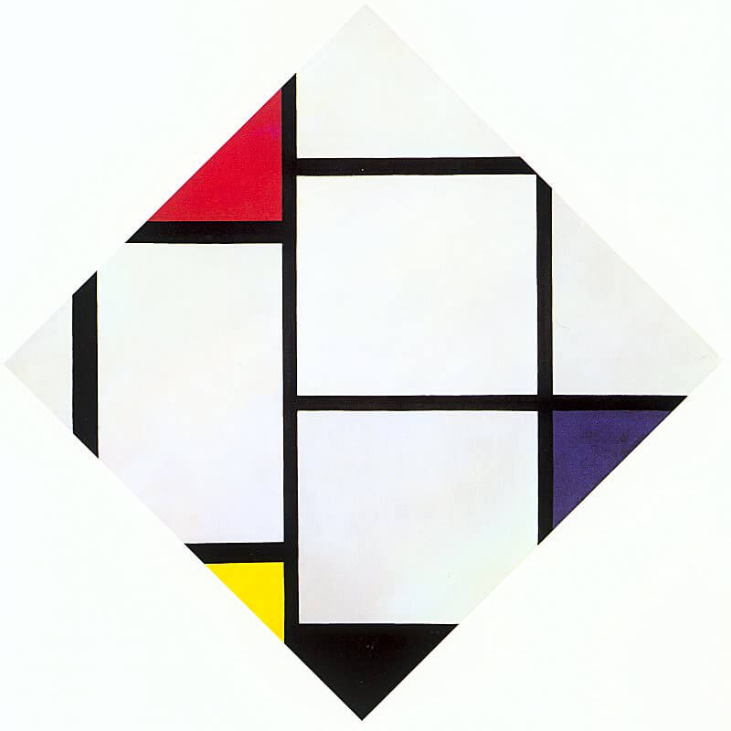 Lozenge composition with red gray blue yellow and black 1925 - by Piet Mondrian
