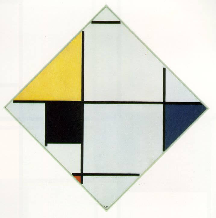 Lozenge Composition with Yellow, Black, Blue, Red, and Gray, 1921 by Piet Mondrian