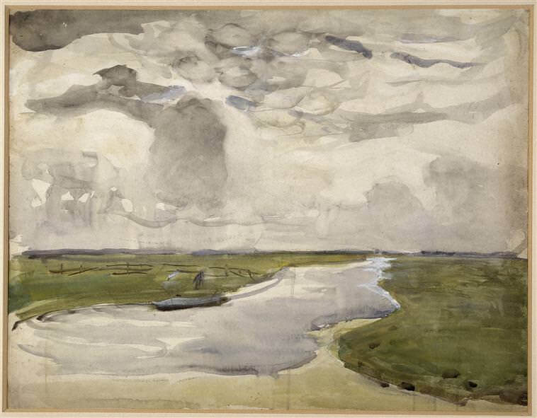 Meandering landscape with river 1907 - by Piet Mondrian