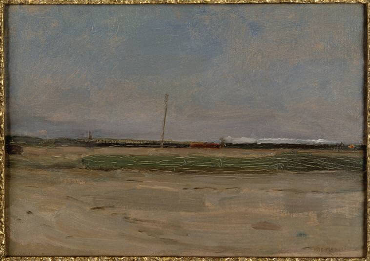 Polder landscape with a train and a small windmill on the horizon 1907 - by Piet Mondrian