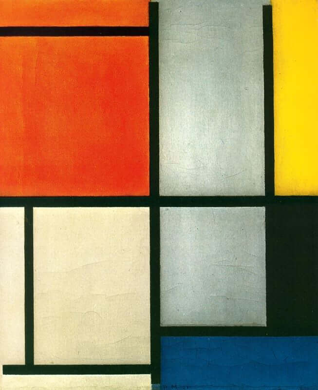 Tableau 3 with orange red yellow black blue and gray - by Piet Mondrian