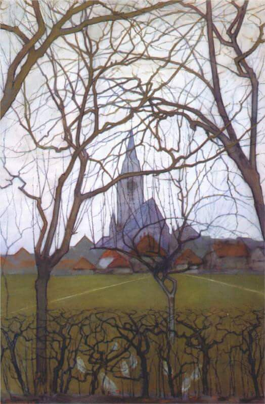 Village church 1898 - by Piet Mondrian